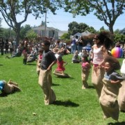 Juneteeth sack race in the park