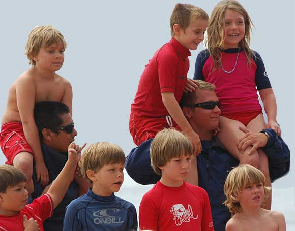 Jr. Lifeguards on shoulders of lifeguards